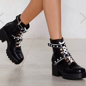 Chunky Strap Heeled Boots